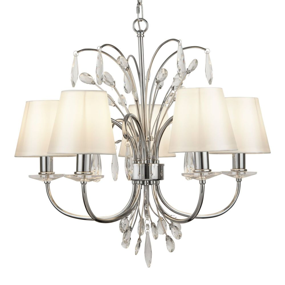 Bloom 5 Light Pendant, Chrome, White Shades (Double Insulated) Bx6825-5Cc-17